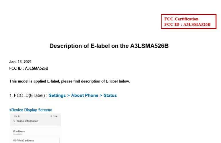 Galaxy A52 5G FCC Label