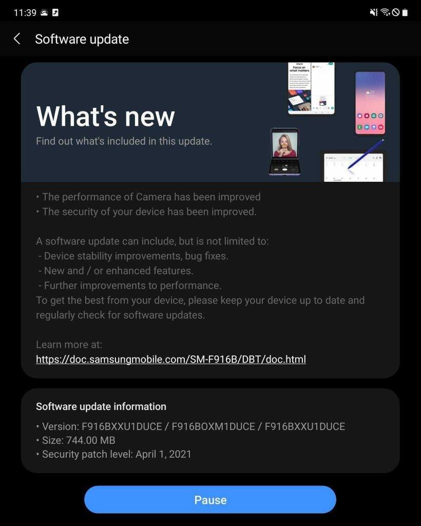 Galaxy Z Fold 2 update