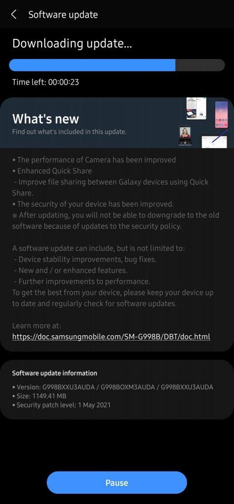 Galaxy S21 May update