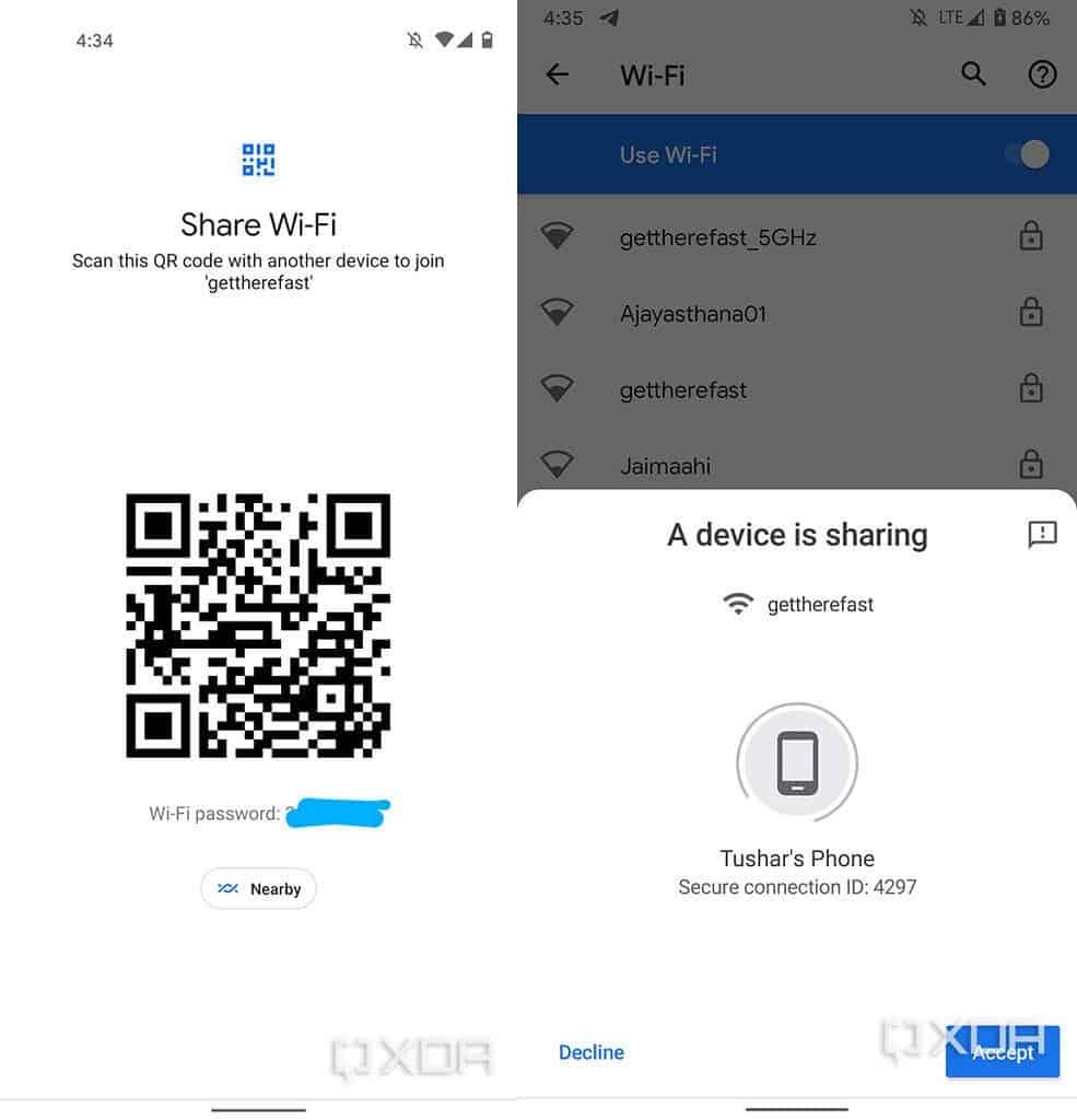 Совместное использование Wi-Fi в Android 12