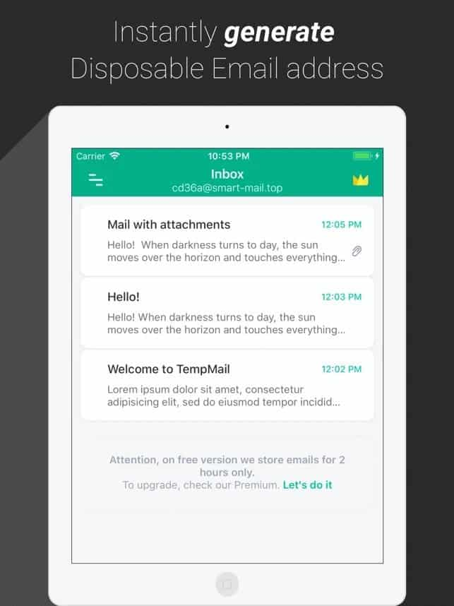 Temp Mail best free iOS apps