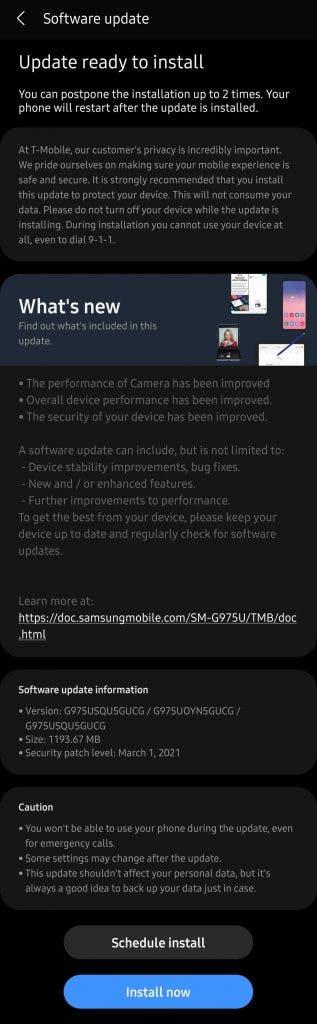 Tmobile Galaxy S10+ One UI 3.1