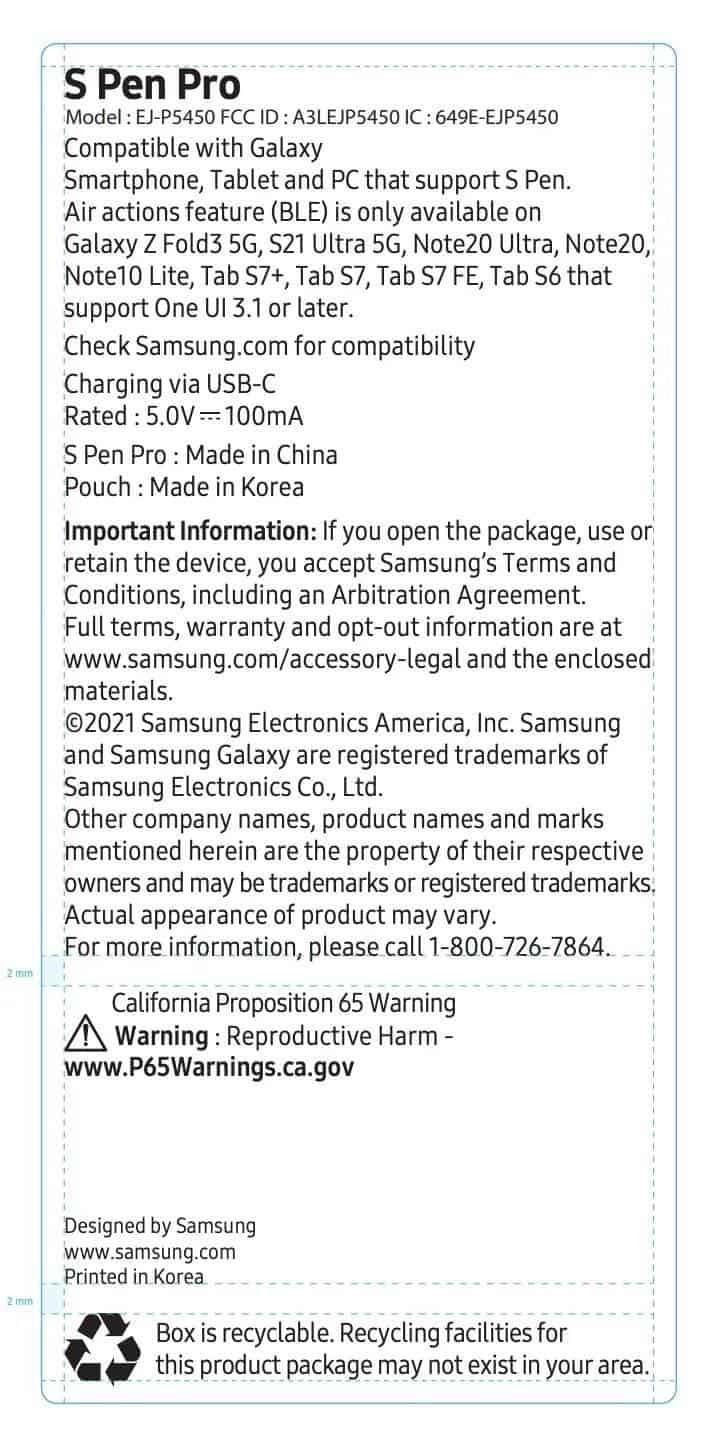 FCC Listing S Pen Pro