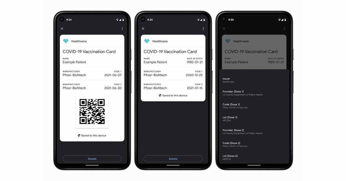 Google Pay COVID Card