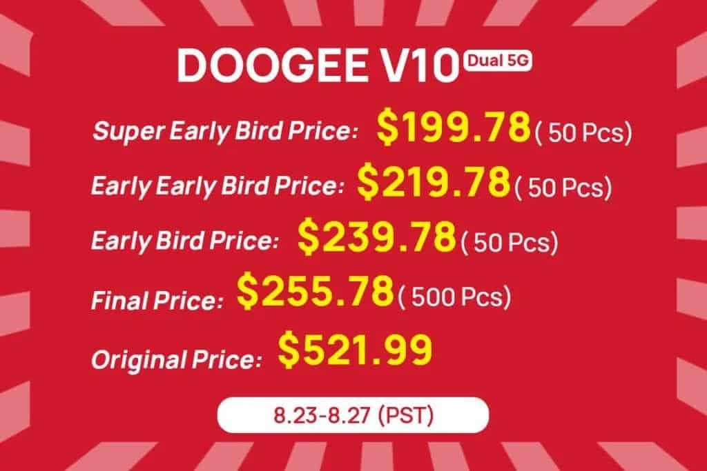 Doogee V10 5G 60% Sale