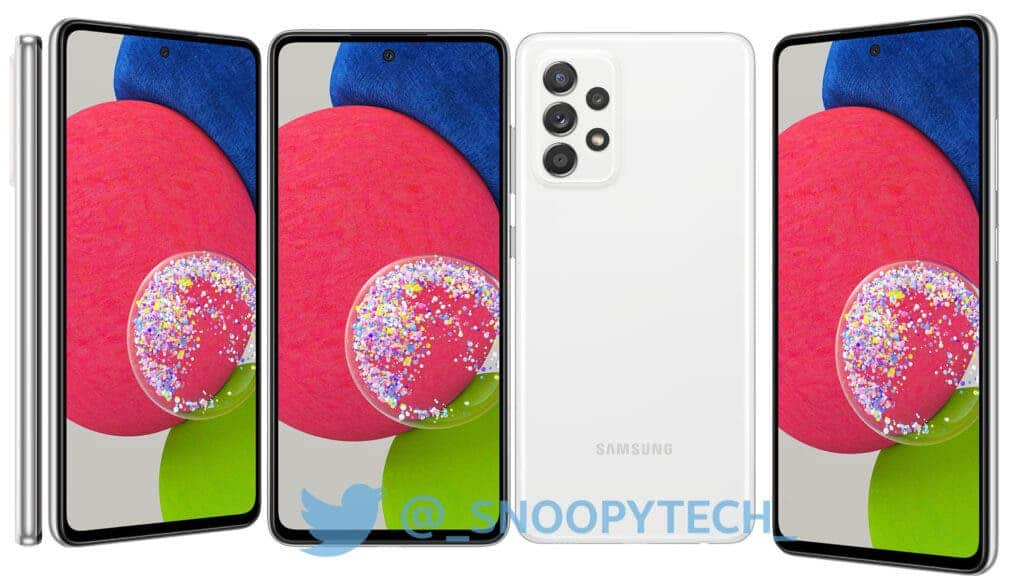 Galaxy A52s White Leaked Render
