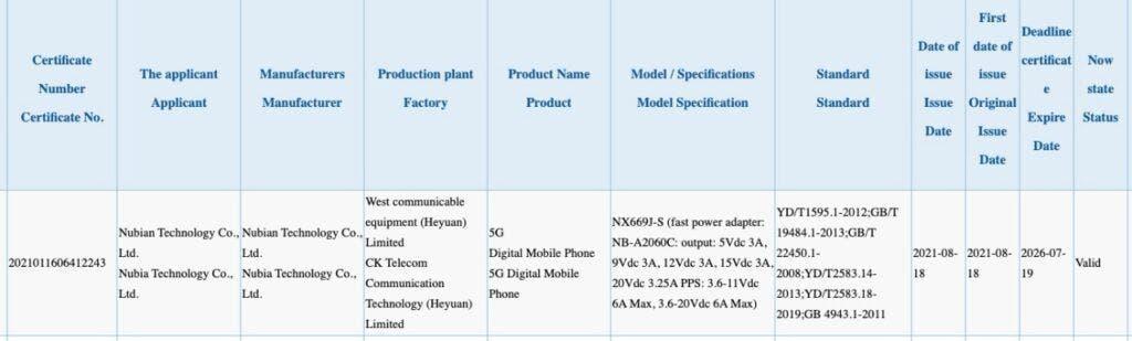 Nubia Red Magic 6S 3C Listing