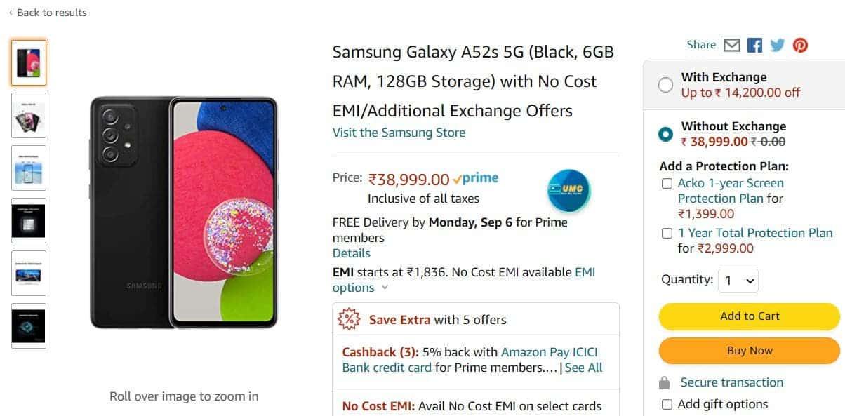 Samsung Galaxy A52s 5G Amazon India Listing_1