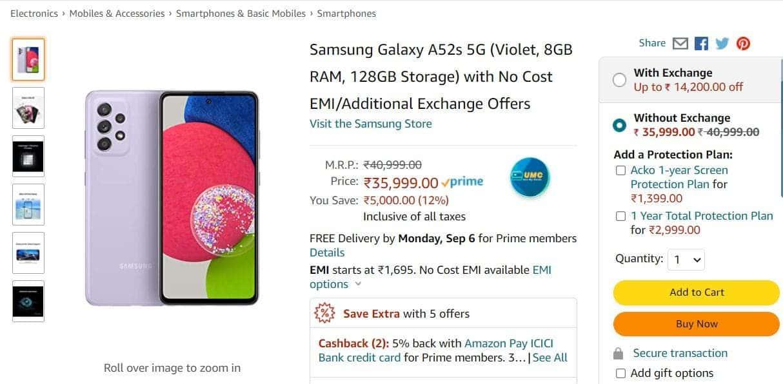 Samsung Galaxy A52s 5G Amazon India Listing_2