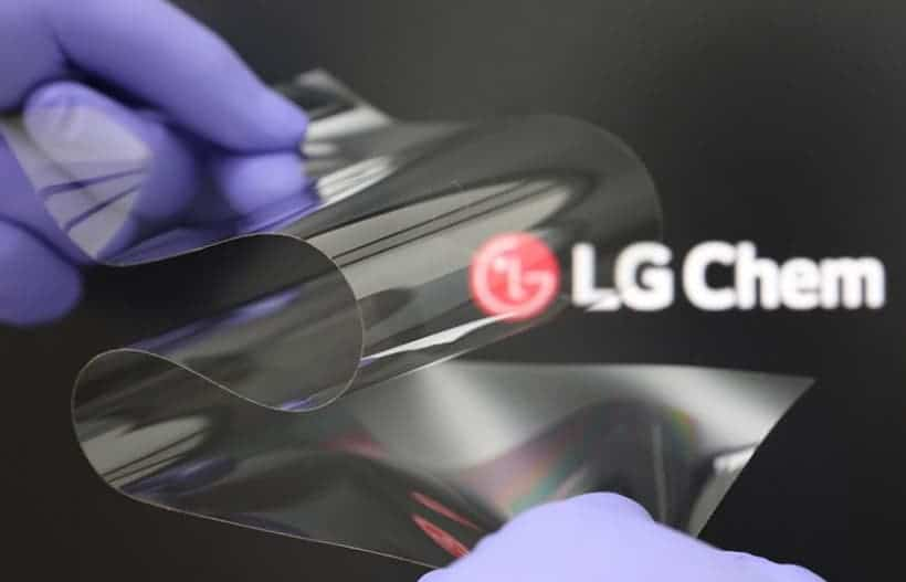 LG foldable display coating material