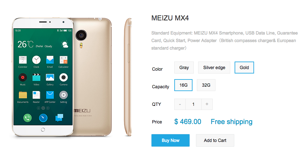 gold meizu mx4