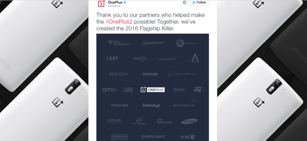 OnePlus thanks its partners for OnePlus 2