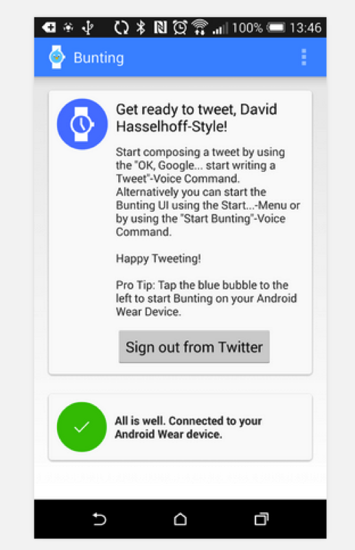 android wear twitter bunting app