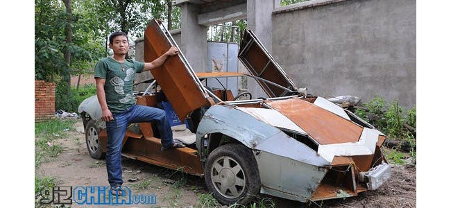 chinese villager builds homemade lamborghini to deliver. Black Bedroom Furniture Sets. Home Design Ideas