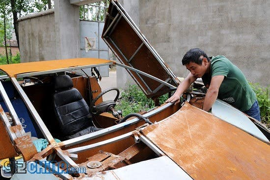 chinese man builds homemade lamborghini clone