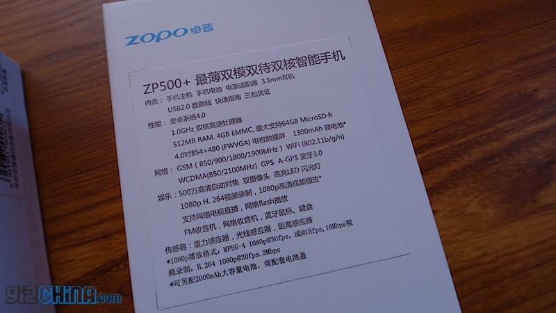 dual core mt6577 zopo zp500+ specification