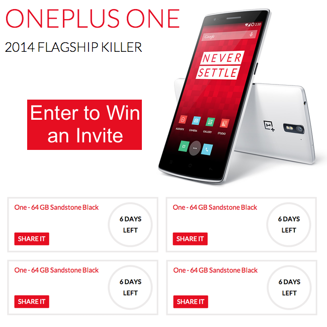 Giveaway Win 1 Of 7 Oneplus One