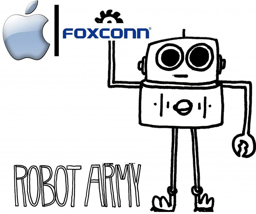 foxconn apple robot army 1024x857 Foxconn's CEO Takes First Steps Toward All Robot Workforce