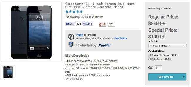 Daily Deal: Save $50 on GooPhone i5 iPhone 5 clone