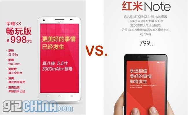 huawei honor 3x vs xiaomi redmi note