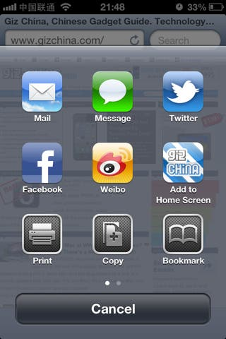social media sharing options ios 6