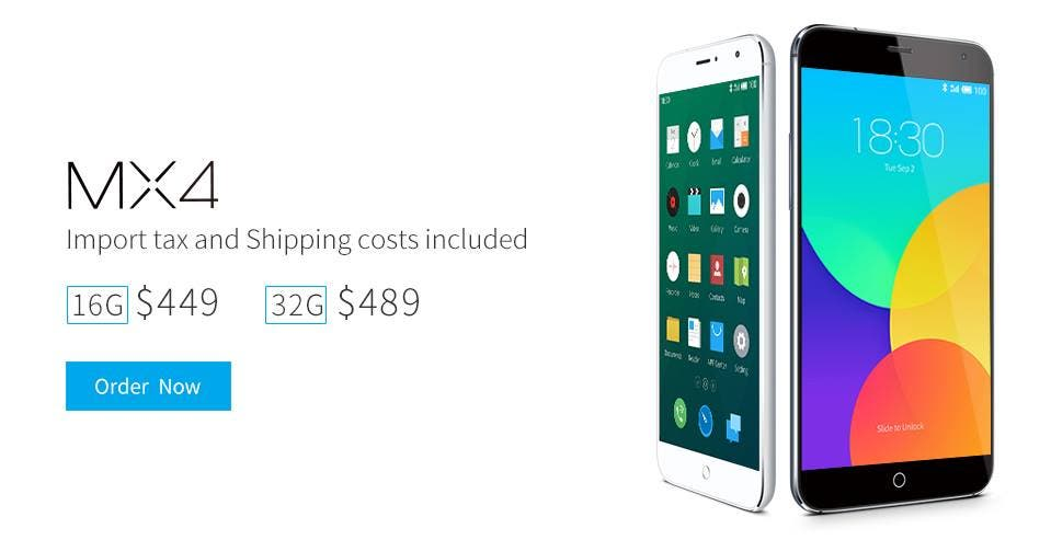 meizu mx4 price