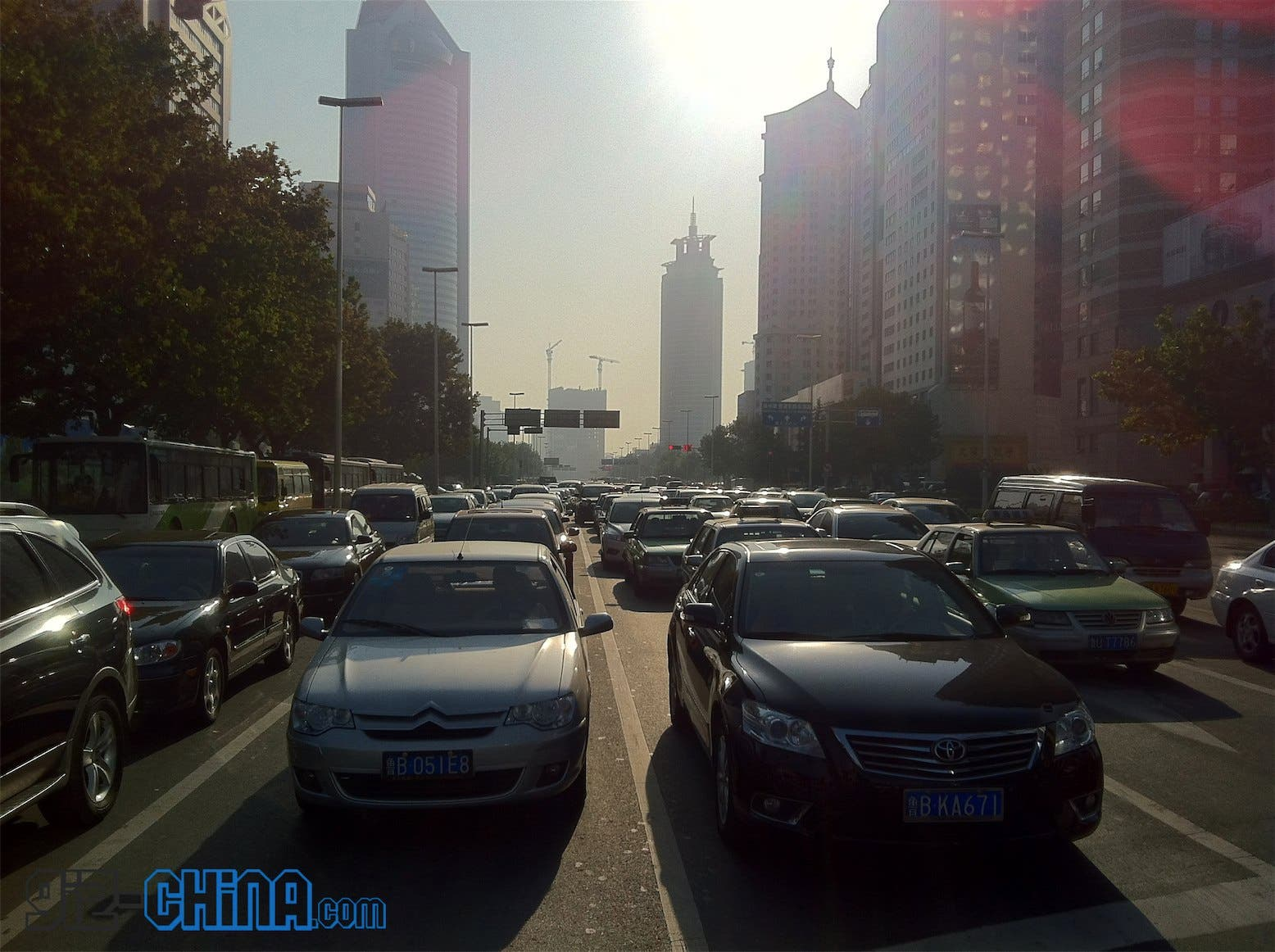 Heavy traffic during China's 'No Car Day' today.