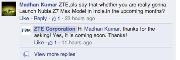 nubia z7 india launch