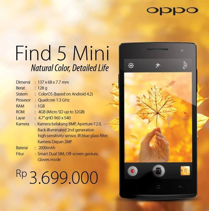 "OPPO Find 5 Mini with 4.7"" screen launched in Indonesia"