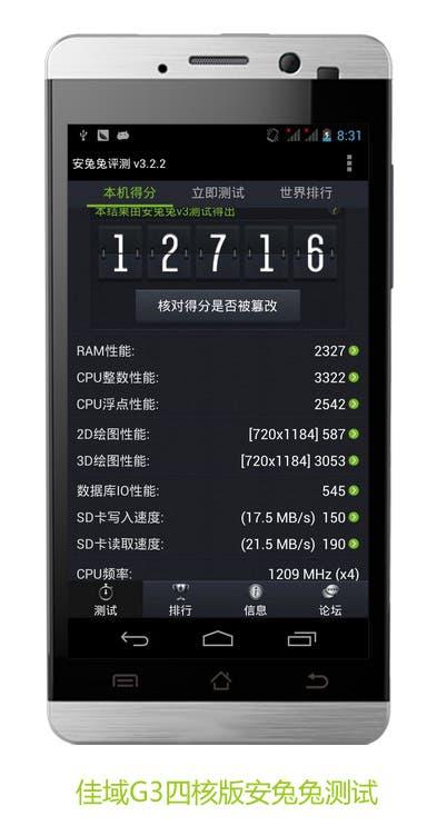 quad-core jiayu G3 benchmarks