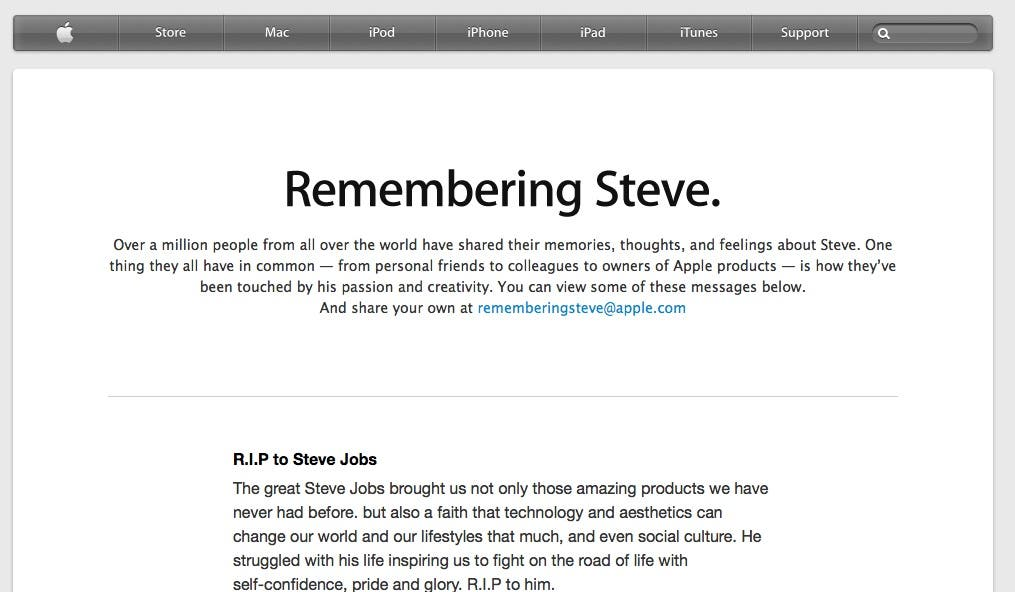 remembering steve jobs,steve jobs life,steve jobs tribute,steve jobs apple page,steve jobs farewell message