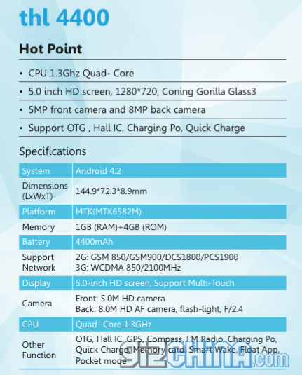 thl 4000 specifications