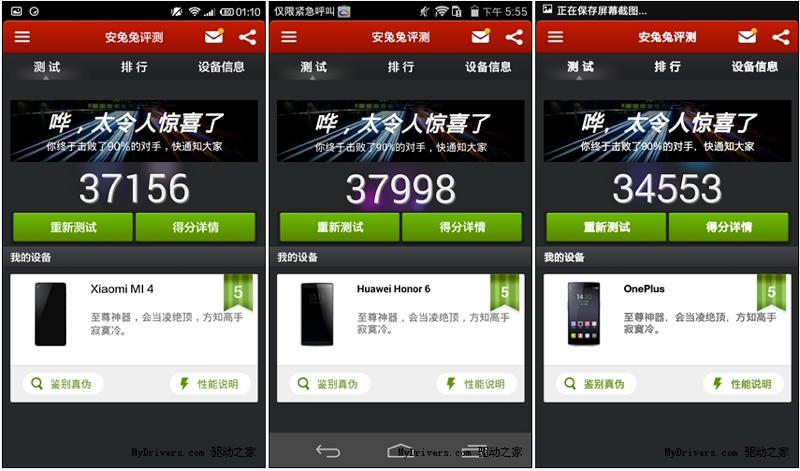 xiaomi Mi4 vs Huawei Honor 5 vs OnePlus One Antutu V4 Benchmarks