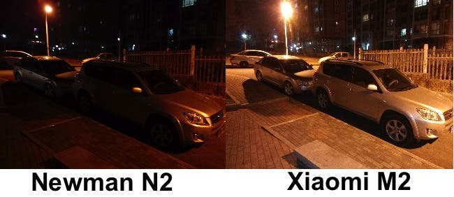 xiaomi m2 vs newman n2 night photo