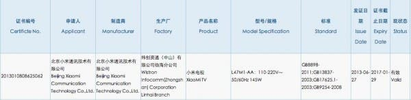 xiaomi tv 3c approval china