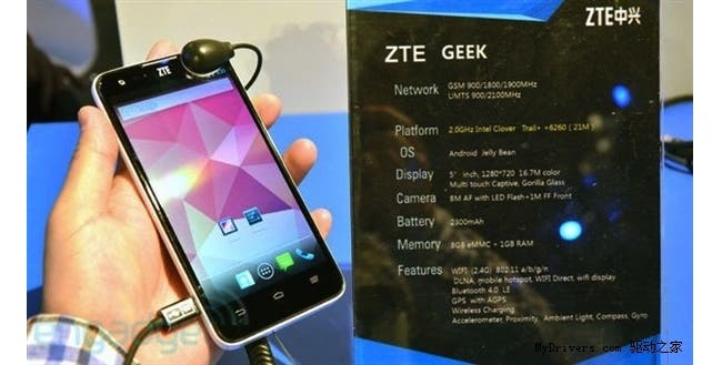 ZTE Geek is a entry-level Intel powered Android smartphone phone